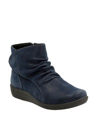 Clarks Sillian Chell Cinched Nubuck Ankle Boots Navy Blue