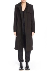 Anthony Vaccarello Suede Trench Coat Black