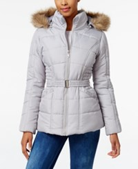 Rampage Faux Fur Trim Hooded Belted Puffer Coat Only At Macy's Gray
