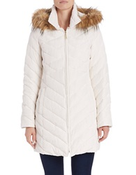 Ellen Tracy Faux Fur Trimmed Quilted Coat Winter White