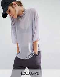 Bones Sheer Mesh Oversized Boxy T Shirt Lilac Grey Purple