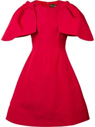 Christian Siriano Oversized Ruffled Sleeve Dress Red