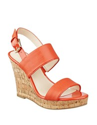 Nine West Lucini Cork Wedge Sandals Orange