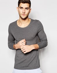 Asos Loungewear Muscle Long Sleeve T Shirt With Scoop Neck In Charcoal Marl Grey