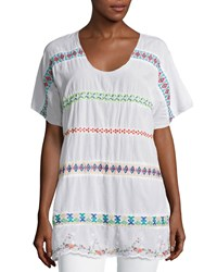Johnny Was Daisy Sheer Dolman Sleeve Embroidered Top White