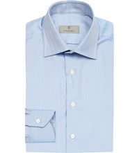 Canali Herringbone Regular Fit Cotton Shirt Blue