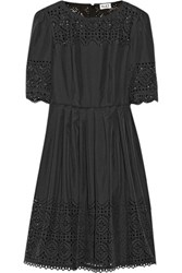 Alice By Temperley Madison Laser Cut Crepe De Chine Dress Black