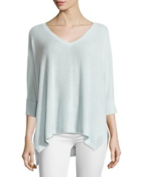Neiman Marcus Cashmere V Neck 3 4 Sleeve Sweater Sea Breeze
