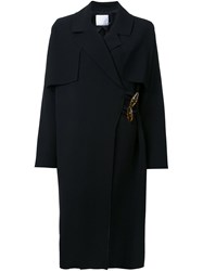 Christopher Esber Caped Resin Toggle Coat Black
