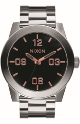 Nixon 'The Corporal' Bracelet Watch 48Mm Silver Black Rose Gold