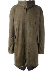 Isaac Sellam Experience Hooded Parka Green
