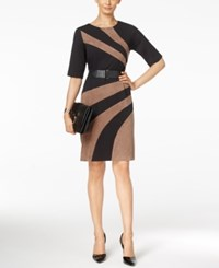 Connected Faux Suede Panel Sheath Dress Black Tan