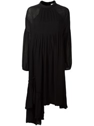 Tibi Asymmetric Ruffle Shirt Dress Black