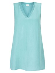 East V Neck Sleeveless Jersey Top Pool Blue