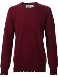 Pringle Of Scotland Distressed Detail Jumper Red