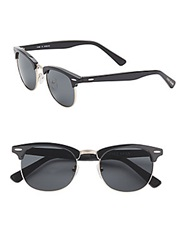 Cole Haan 51Mm Round Wayfarer Sunglasses Black