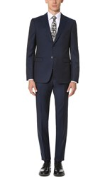 Z Zegna Drop 8 Wool Mohair Blend Suit Navy
