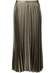 Derek Lam Long Pleated Skirt Metallic