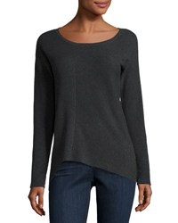 Tahari By Arthur S. Levine Asymmetric Print Paneled Knit Sweater Charcoal