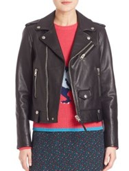 Coach Icon Leather Moto Jacket Black