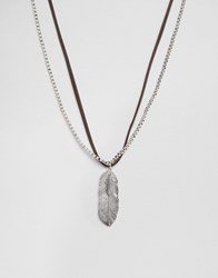 Asos Faux Leather Necklace With Feathers Brown
