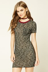 Forever 21 Marled Knit T Shirt Dress Charcoal Burgundy