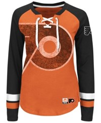 Majestic Women's Philadelphia Flyers Hip Check Long Sleeve T Shirt Orange Black