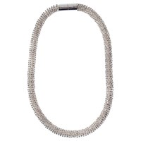 Adele Marie Faceted Glass Beads Rope Necklace Silver