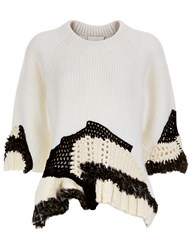 3.1 Phillip Lim White Knitted Crochet Jumper