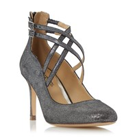 Head Over Heels Alisha Cross Strap Court Shoes Pewter
