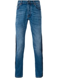 Valentino Tonal Stripe Slim Fit Jeans Blue