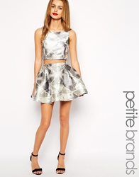 True Decadence Petite Jacquard Mini Skater Skirt Silver