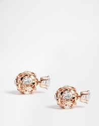 Love Rocks Crystal Sphere Through And Through Stud Earrings Gold