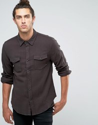 Brixton Flannel Shirt In Regular Fit Washed Black