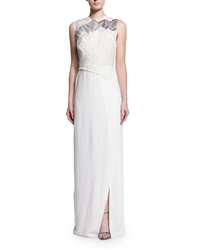 3.1 Phillip Lim Gathered Lace Bodice Gown White