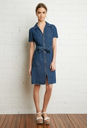 Forever 21 Zipper Front Denim Shirt Dress Dark Denim