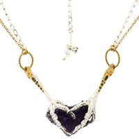 Tessa Metcalfe Purple Fluorite Crystal Necklace In Pave Set Claws