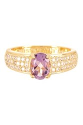 Oval Cut Genuine Amethyst And Pave Simulated Diamond Ring Purple