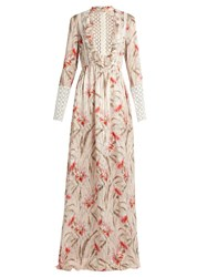 Giambattista Valli Daisy Print Lace Trimmed Silk Chiffon Gown Light Pink
