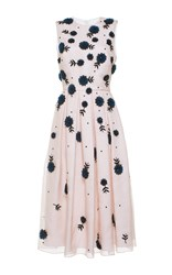 Holly Fulton Sleeveless Floral Organza Midi Dress Pink