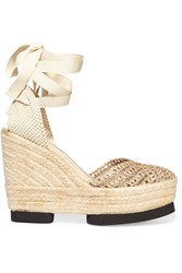Paloma Barcelo Woven Leather And Canvas Espadrille Wedge Sandals White