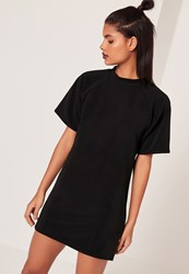 Missguided Short Sleeve Oversized T Shirt Dress Black Black
