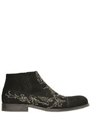 Giovanni Conti Chain Embroidered Suede Ankle Boots Black