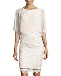 Adrianna Papell Draped Blouson Pencil Skirt Dress Champagne