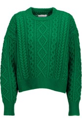 Etoile Isabel Marant Newlyn Cable Knit Wool Sweater Green