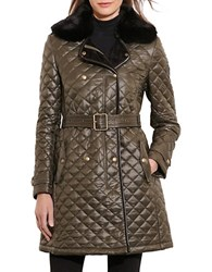 Lauren Ralph Lauren Faux Fur Trim Quilted Jacket Olive Green