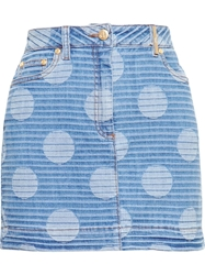 Kenzo Polka Dot Denim Mini Skirt Blue