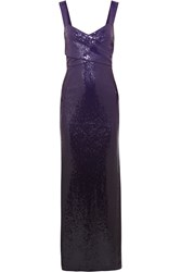 Donna Karan Sequined Tulle Evening Gown Purple
