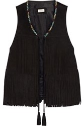 Talitha Fringed Embroidered Suede Vest Black