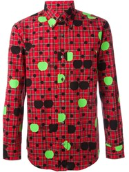 The Beatles X Comme Des Garcons Printed Tartan Shirt Red
